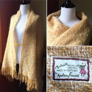 Vintage Andrew Stewart mohair wool blanket scarf